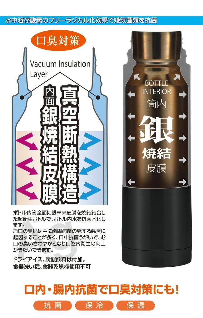 銀抗菌ステンレス真空ボトル 銀未来ワンタッチボトル