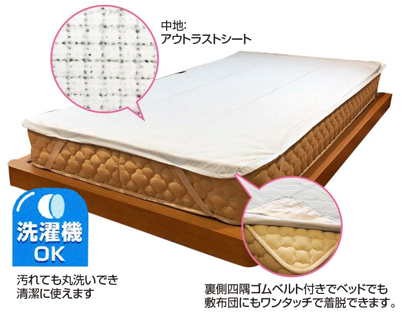 涼感敷きパッドシーツ 温度調整素材アウトラストシート入