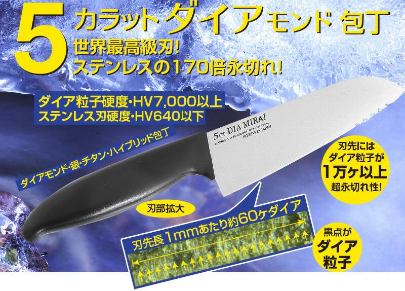 5カラットダイア包丁(刃渡り16cm)溝付き